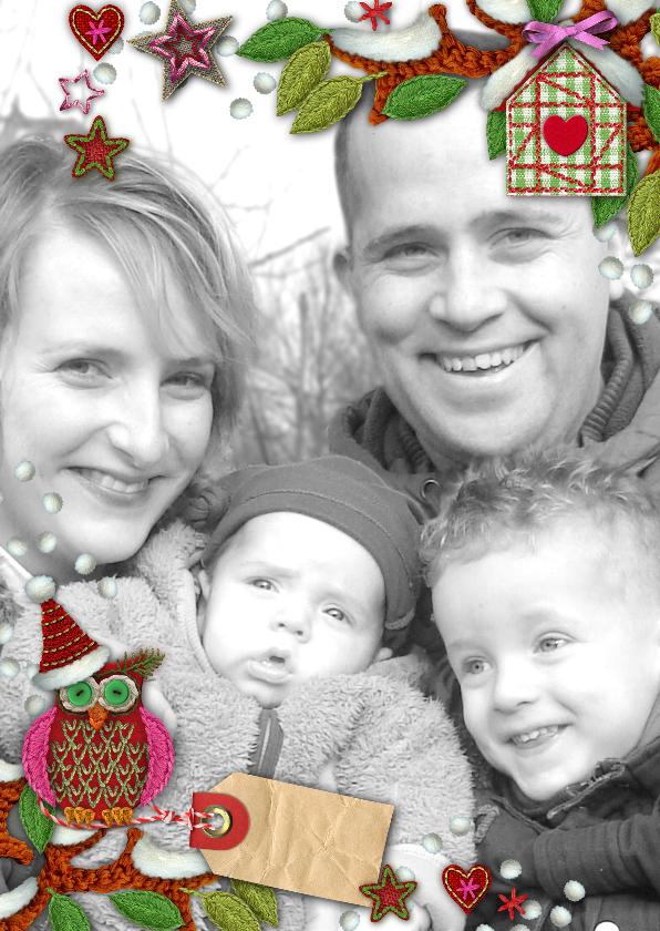 Kerstkaarten - YVON kader foto uil eigen foto st hip