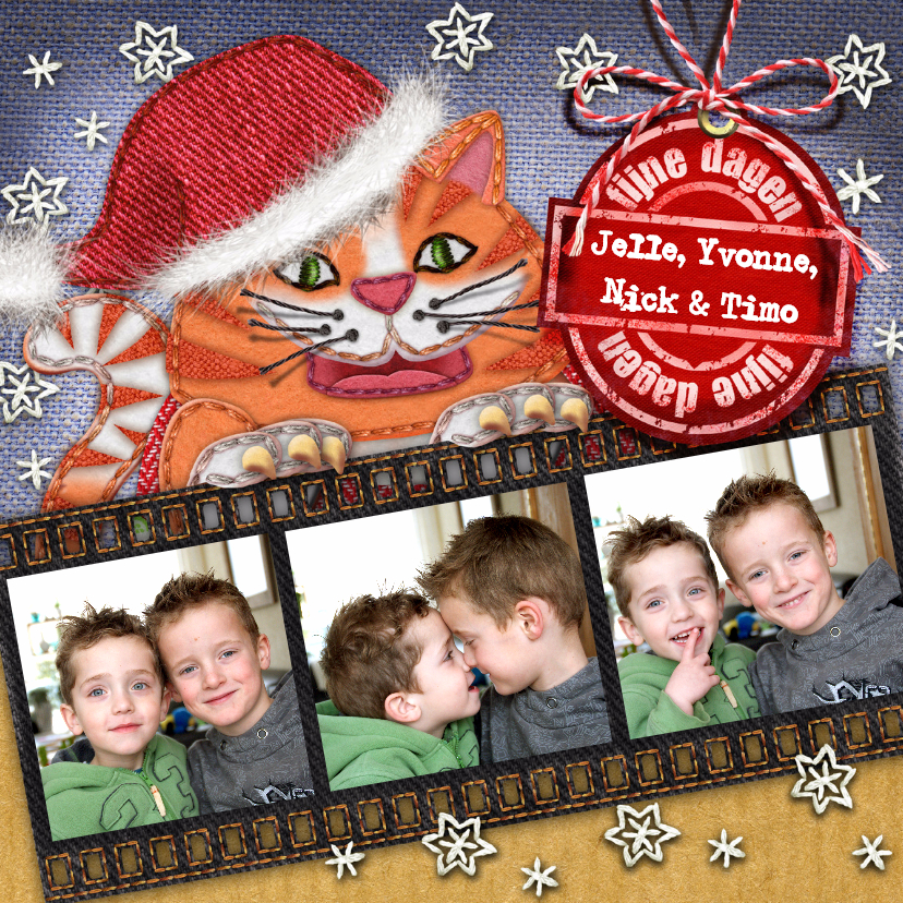 Kerstkaarten - YVON kerst poes kerstmuts ster