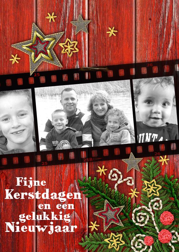 Kerstkaarten - YVON kerst tak rood hout eigen foto st