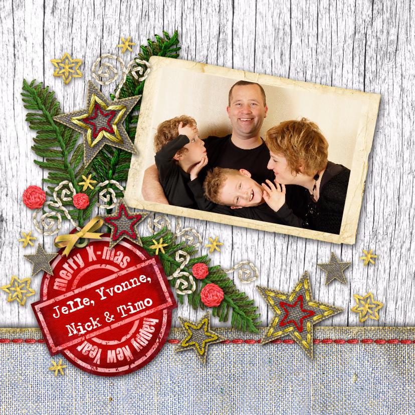 Kerstkaarten - YVON kerst tak wit hout eigen foto vk