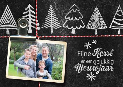 Kerstkaarten - YVON kerstbomen krijt foto