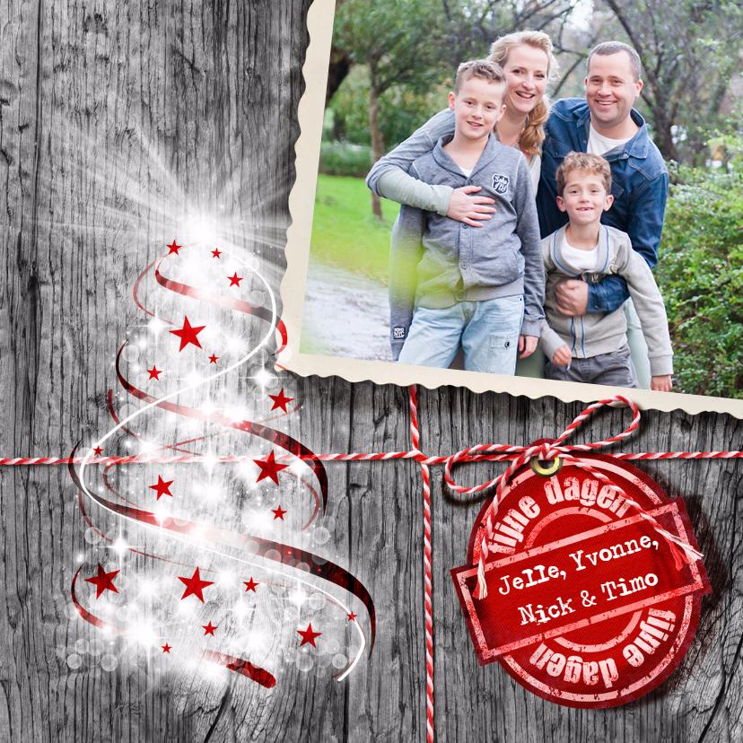Kerstkaarten - YVON kerstboom bling eigen foto grijs