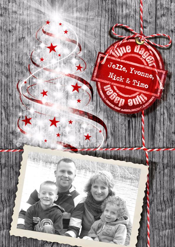 Kerstkaarten - YVON kerstboom hout rood st eigen foto