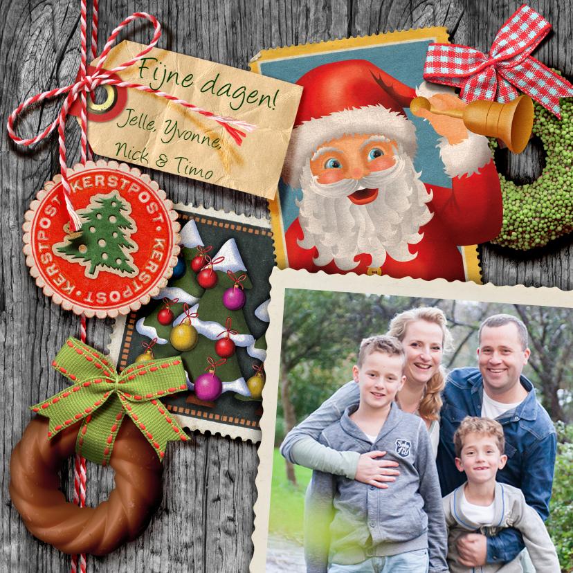 Kerstkaarten - YVON post kerstman hout zegel vk vintage