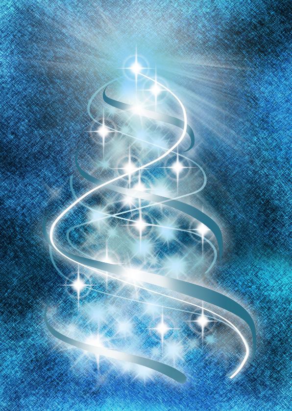 Kerstkaarten - YVON verlichte kerstboom blauw