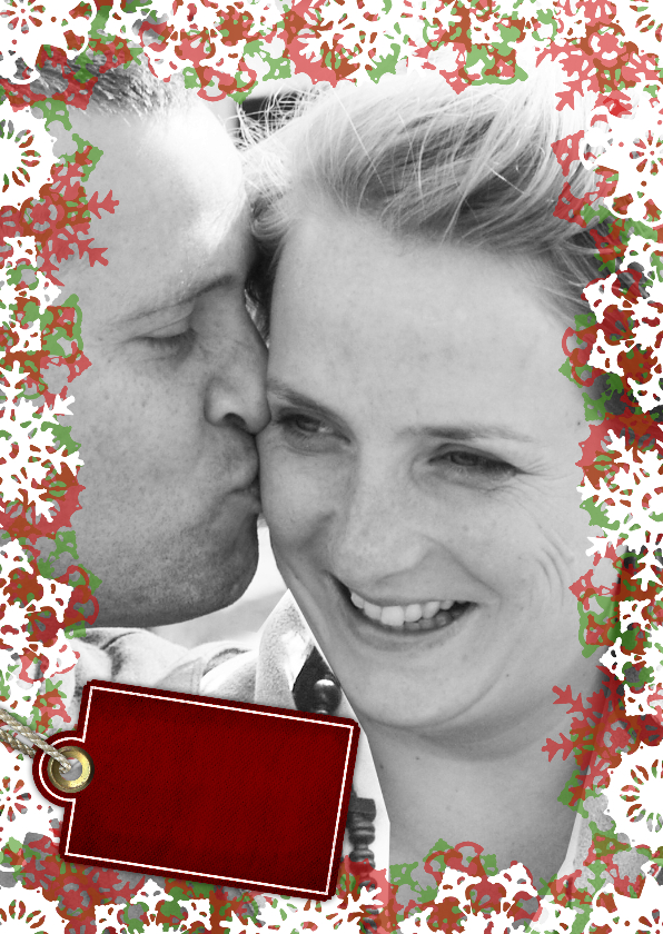 Kerstkaarten - YVON vriesster kader foto rood groen st