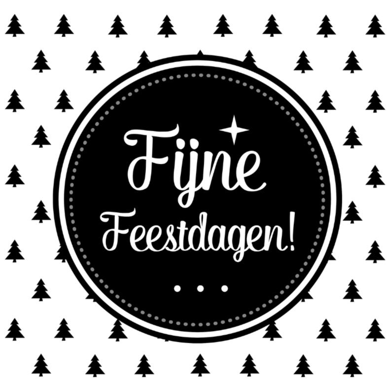Kerstkaarten - Zwart Wit kerstbomen Tekst