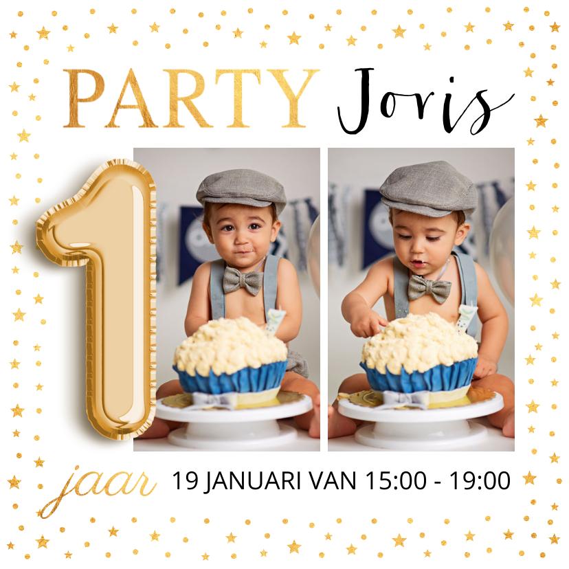 Kinderfeestjes - Ballon 1 jaar foto goud confetti uitnodiging kinderfeestje