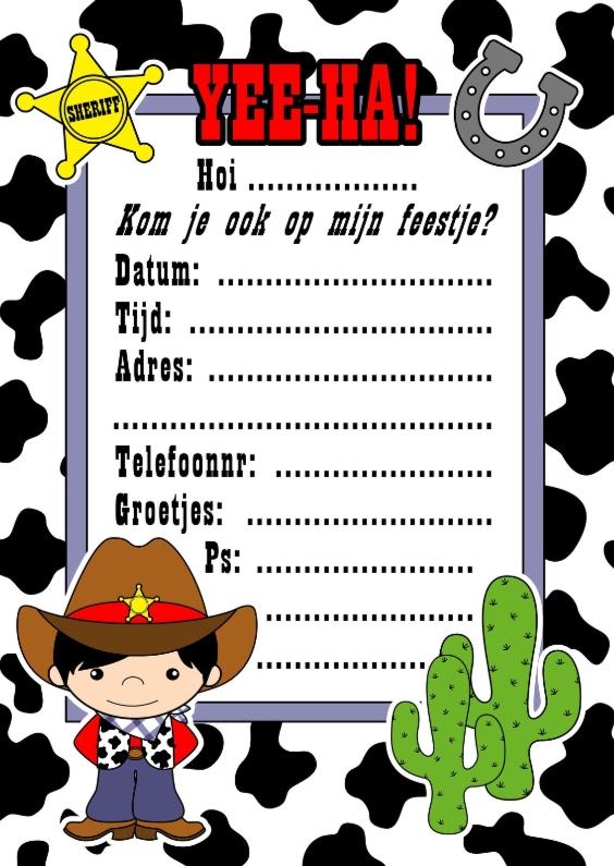 Kinderfeestjes - Cowboy uitnodiging