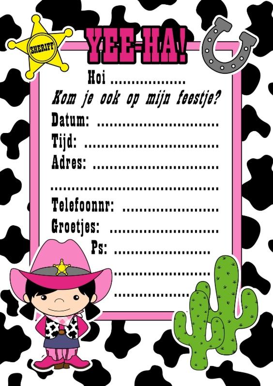 Kinderfeestjes - Cowgirl uitnodiging