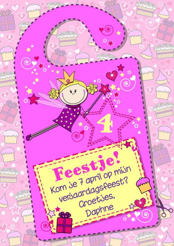 Kinderfeestjes - Deurhanger uitnodiging prinses