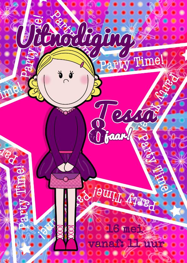 Kinderfeestjes - DISCO uitnodiging meisjes roze S