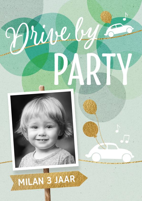 Kinderfeestjes - Drive By uitnodiging verjaardag kind jongen