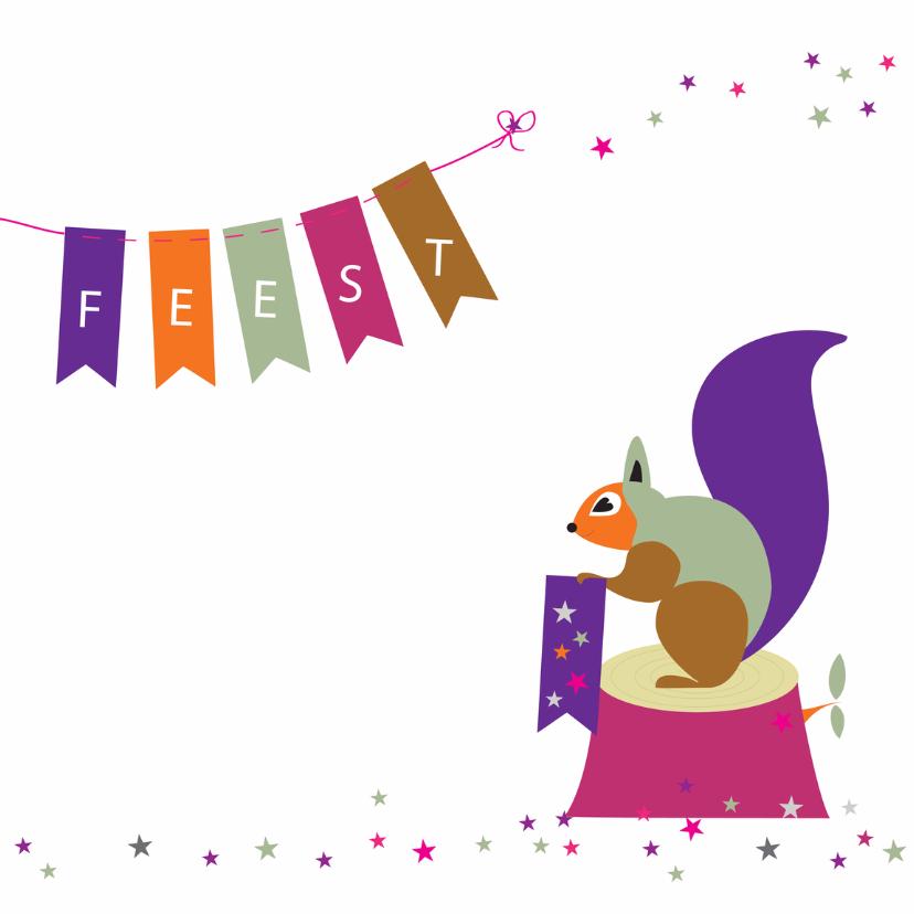 Kinderfeestjes - Eekhoorn met vlaggenslinger