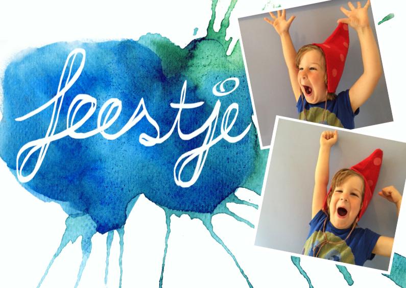 Kinderfeestjes - feestje aquarel met tekst en foto
