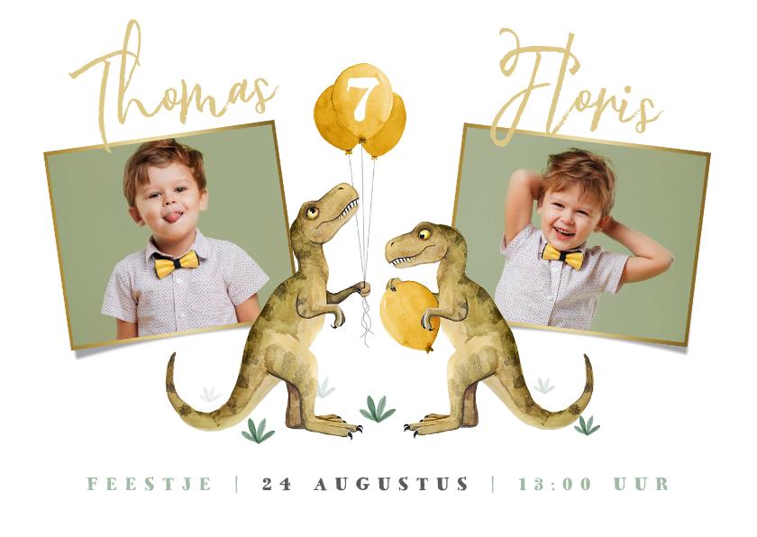 Kinderfeestjes - Feestje dinosaurus tweeling ballonnen foto's uitnodiging