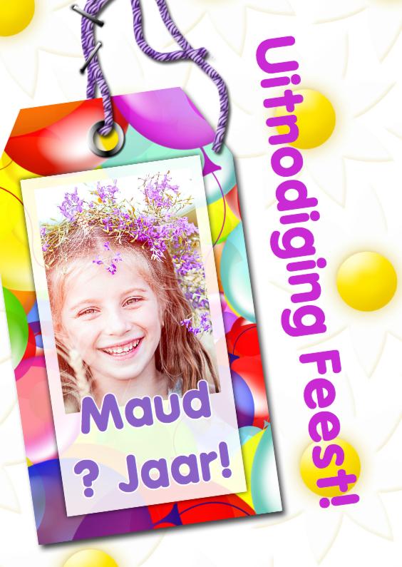 Kinderfeestjes - Feestje naamkaartje en ballonnen