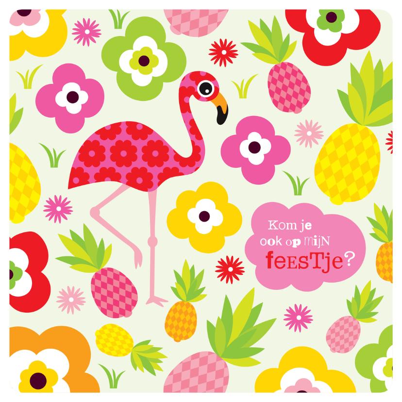 Kinderfeestjes - Flamingo zomer verjaardag uitnodiging