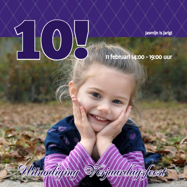 Kinderfeestjes - Foto 4kant Verjaardag paars - BK