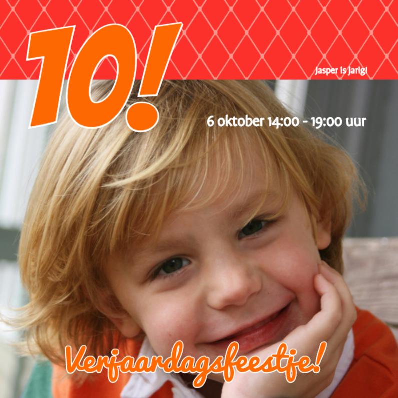 Kinderfeestjes - Foto 4kant Verjaardag rood - BK
