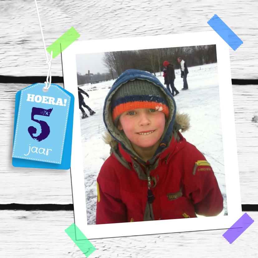 Kinderfeestjes - Foto houtprint label eigen tekst