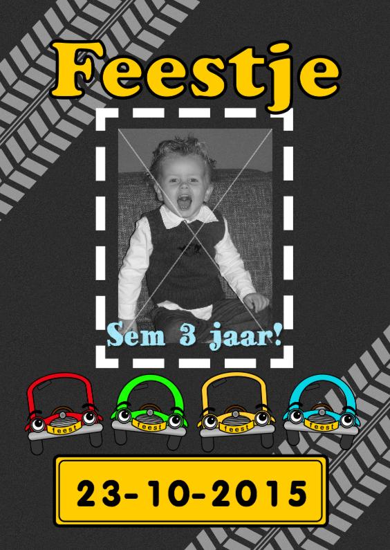 Kinderfeestjes - FOTO uitnodiging AUTO