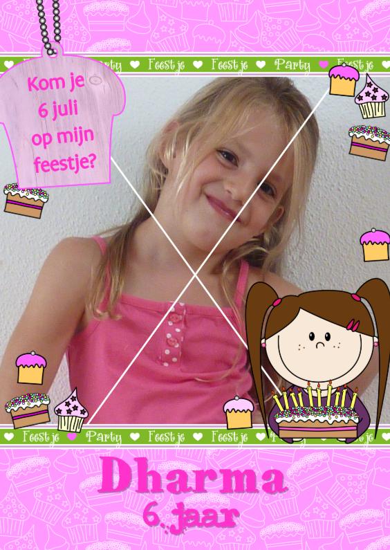 Kinderfeestjes - Fotokaart Blij meisje met taart
