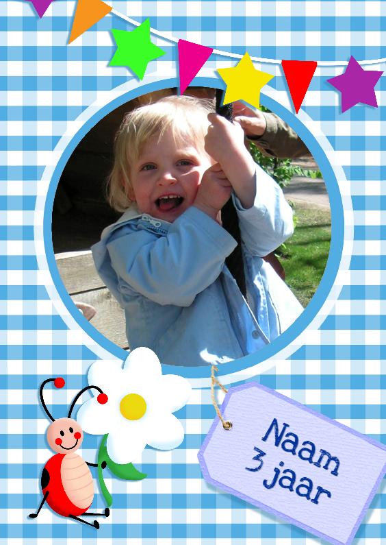 Kinderfeestjes - Fotokaart Ruitjes Vlaggen blauw