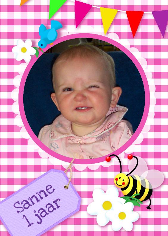 Kinderfeestjes - Fotokaart Ruitjes Vlaggen pink 2
