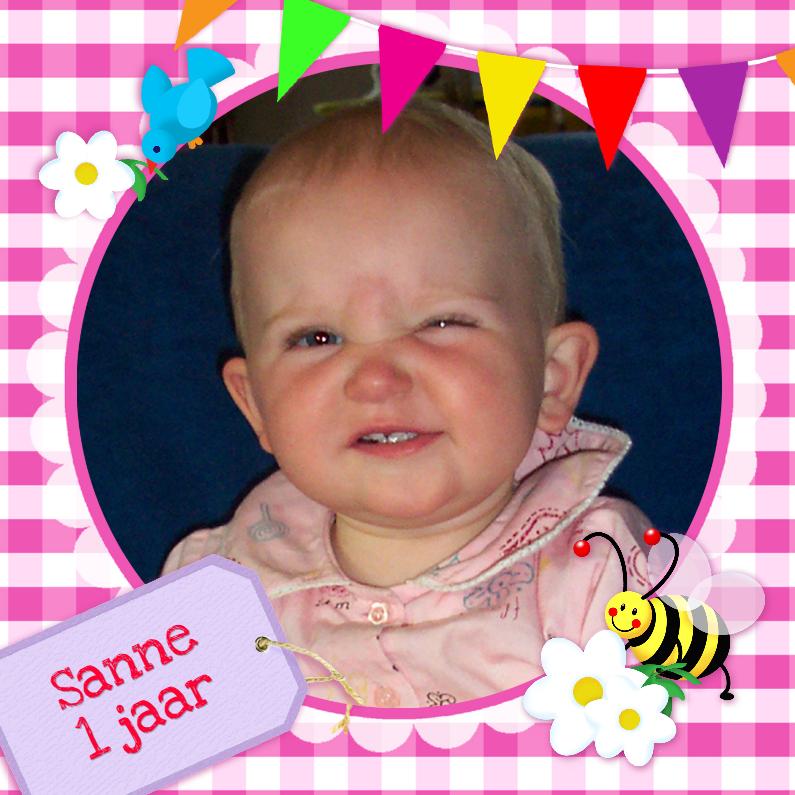Kinderfeestjes - Fotokaart Ruitjes Vlaggen pink