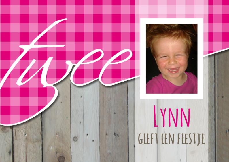 Kinderfeestjes - geschreven 2 hout ruitjes roze