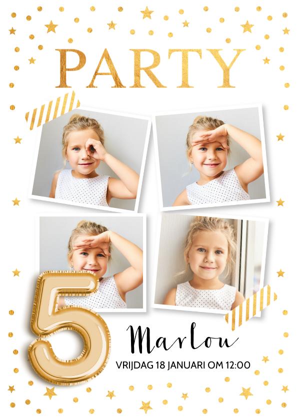 Kinderfeestjes - Goud confetti ballon 5 jaar uitnodiging kinderfeestje