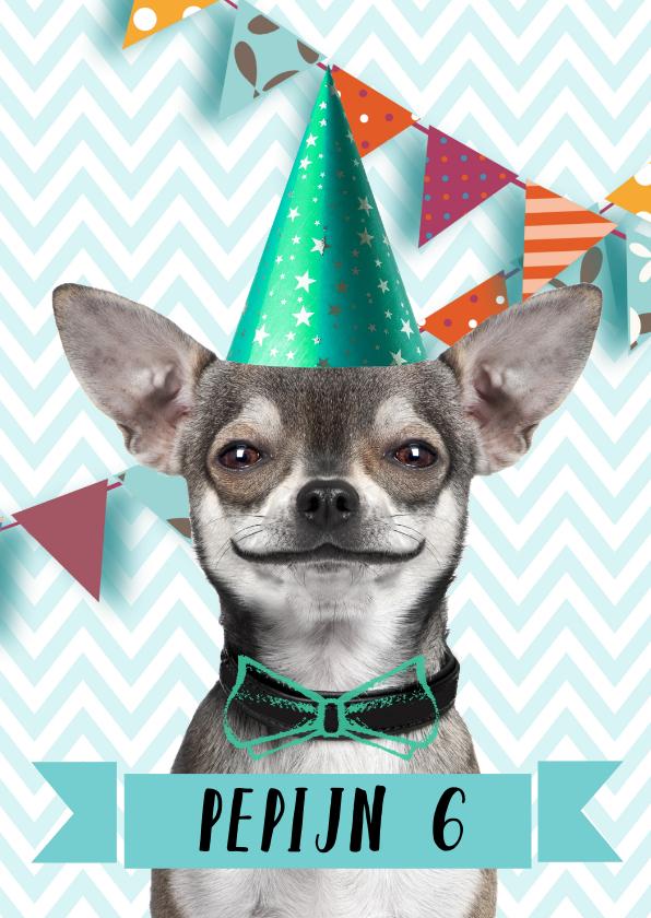 Kinderfeestjes - Grappige uitnodiging met hondje en slingers