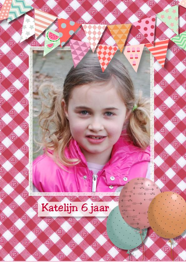 Kinderfeestjes - Hartjes stof roze met fotokaart2