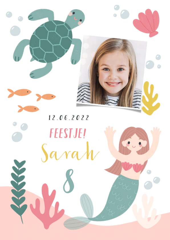 Kinderfeestjes - Hip kinderfeestje uitnodiging zeemeermin, schildpad en foto