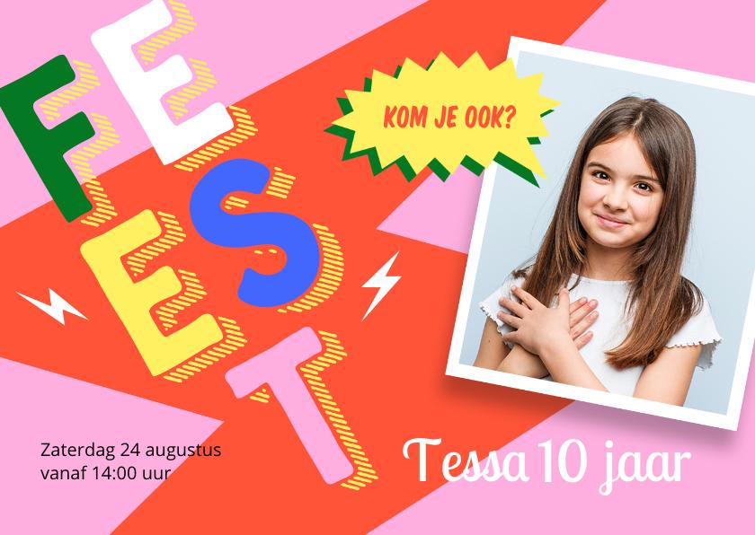 Kinderfeestjes - Hippe roze uitnodiging partijtje meisje met foto