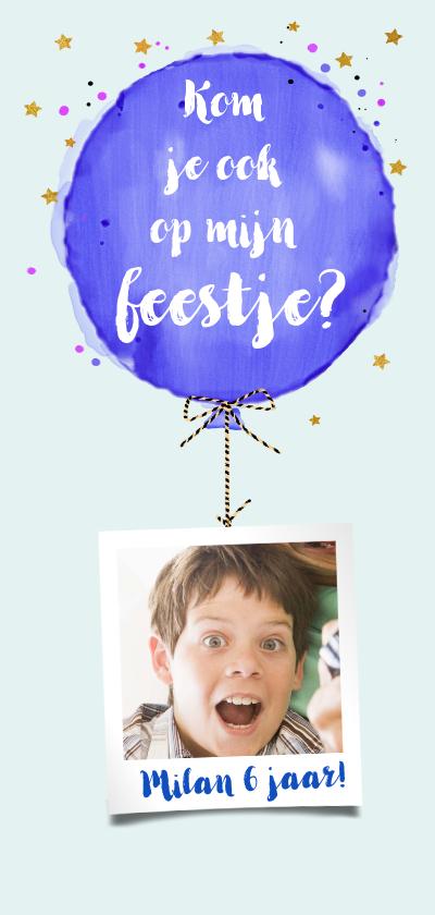 Kinderfeestjes - Hippe uitnodiging kinderfeest met ballon in waterverf