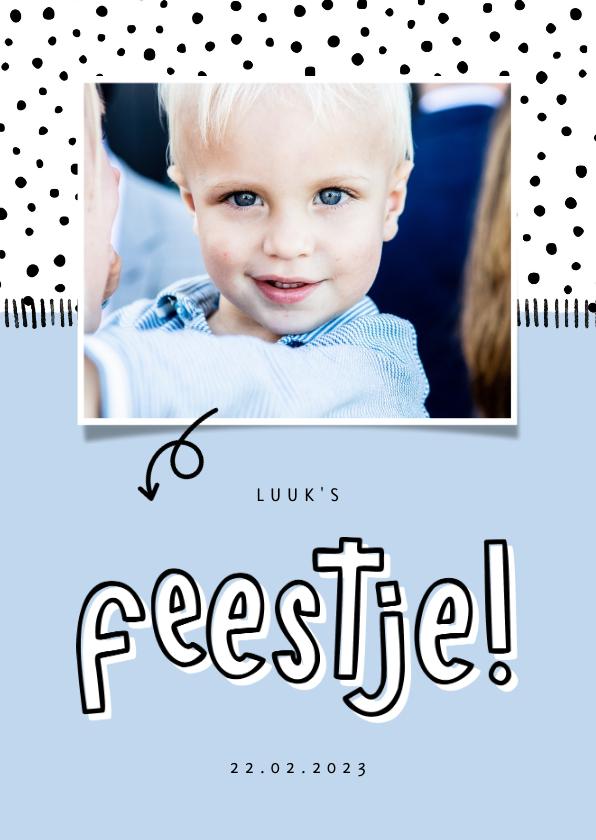 Kinderfeestjes - Hippe uitnodiging kinderfeestje foto met aanpasbare kleur