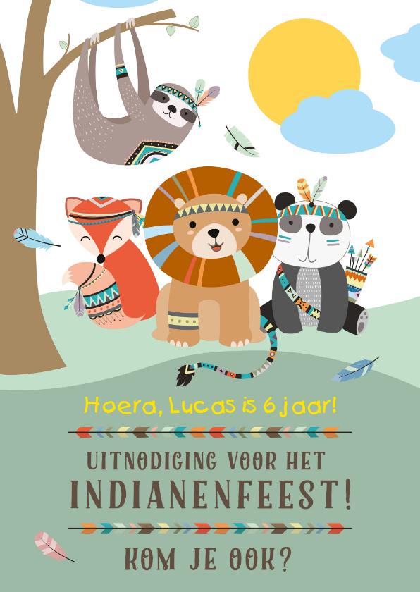 Kinderfeestjes - Indianen kinderfeestje uitnodiging