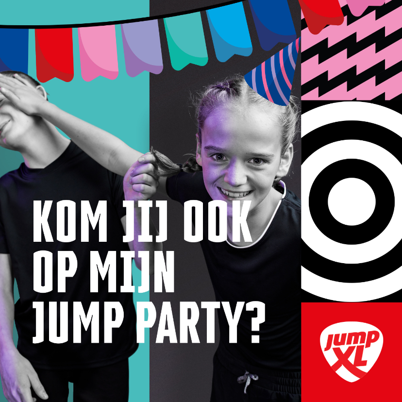 Kinderfeestjes - Jump XL kinderfeest uitnodiging Jongen/Meisje