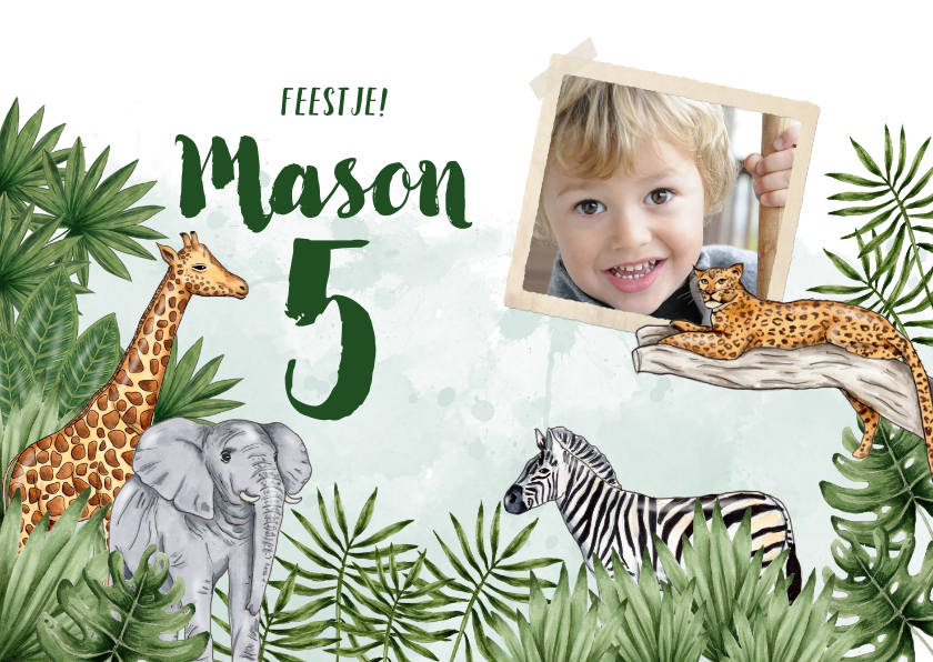 Kinderfeestjes - Jungle kinderfeestje foto dieren waterverf