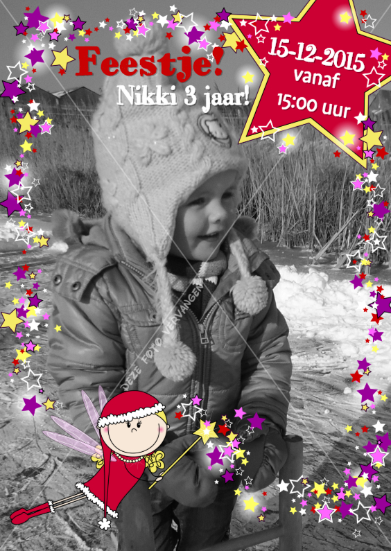 Kinderfeestjes - Kerst uitnodiging FEEstje sterren