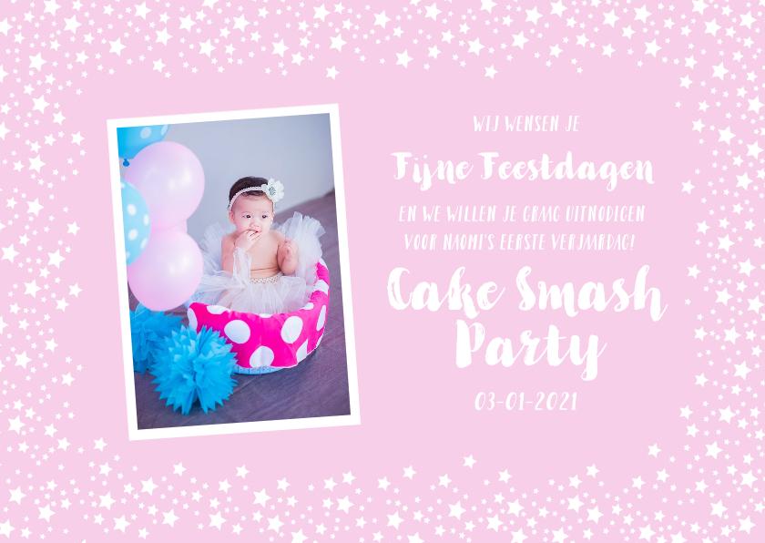 Kinderfeestjes - Kerstkaart kinderfeestje uitnodiging roze sterren foto