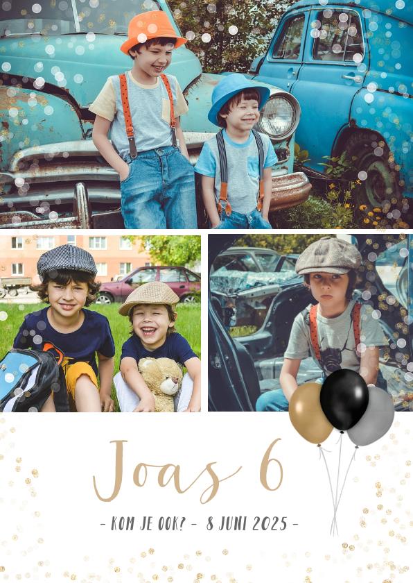 Kinderfeestjes - Kinderfeest uitnodiging fotocollage met ruimte voor 3 foto's