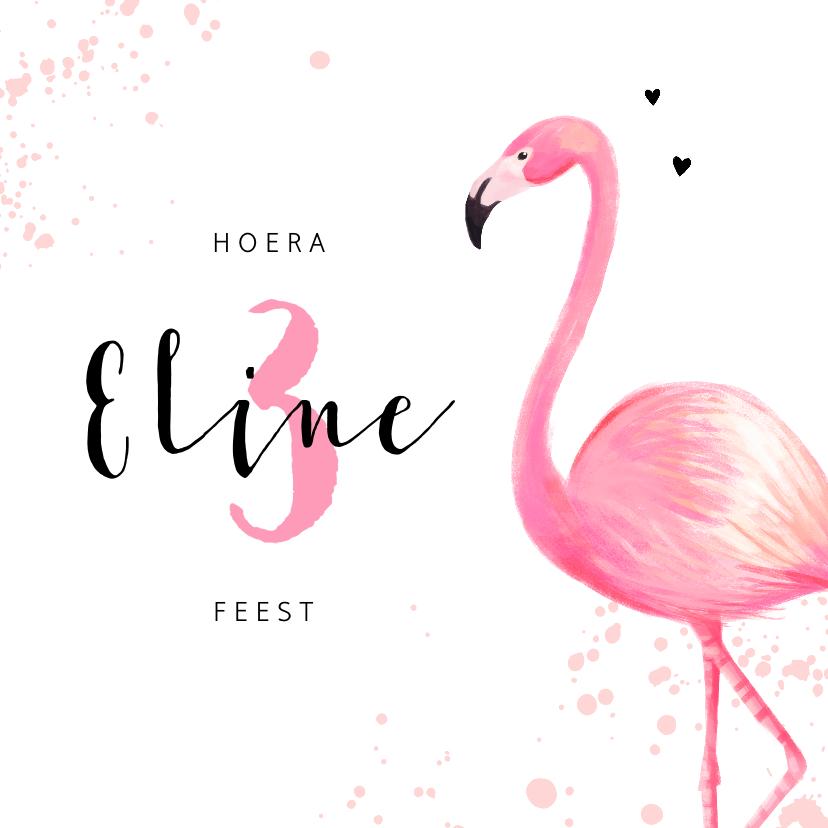 Kinderfeestjes - Kinderfeest uitnodiging roze met flamingo en spetters