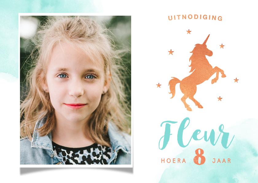 Kinderfeestjes - Kinderfeest uitnodiging stijlvol met eenhoorn en eigen foto