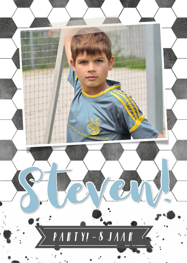 Kinderfeestjes - Kinderfeest uitnodiging voetbal met eigen foto