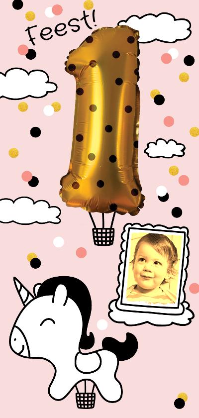 Kinderfeestjes - Kinderfeestje 1 jaar goud unicorn luchtballon