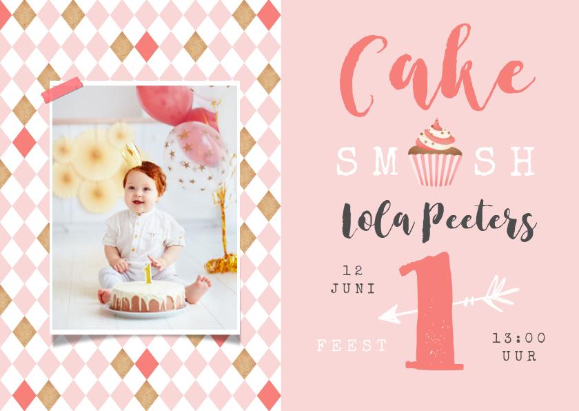 Kinderfeestjes - Kinderfeestje 1 jaar meisje cake smash cupcake foto roze