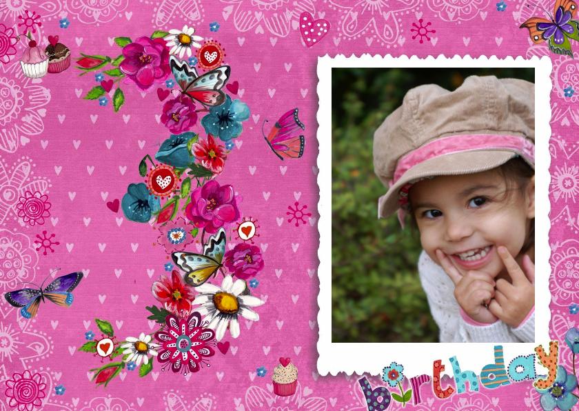 Kinderfeestjes - Kinderfeestje 3 jaar Meisje Foto Bloemen